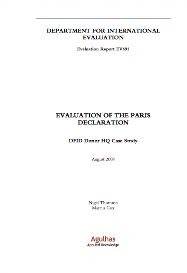 image of the Paris declaration evaluation 2008
