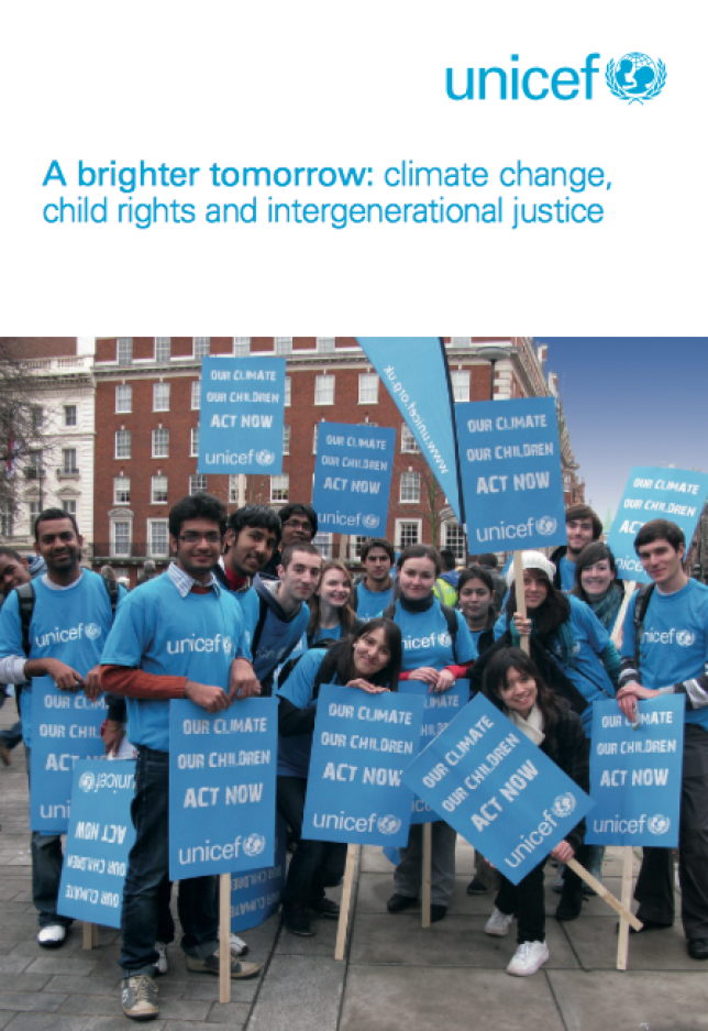 image of Unicef's report A brighter tomorrow: climate change, child rights and intergenerational justice