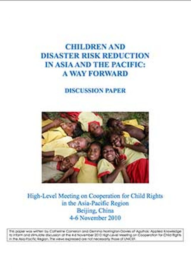 Image of Children and disaster risk reduction in the Asia Pacific region