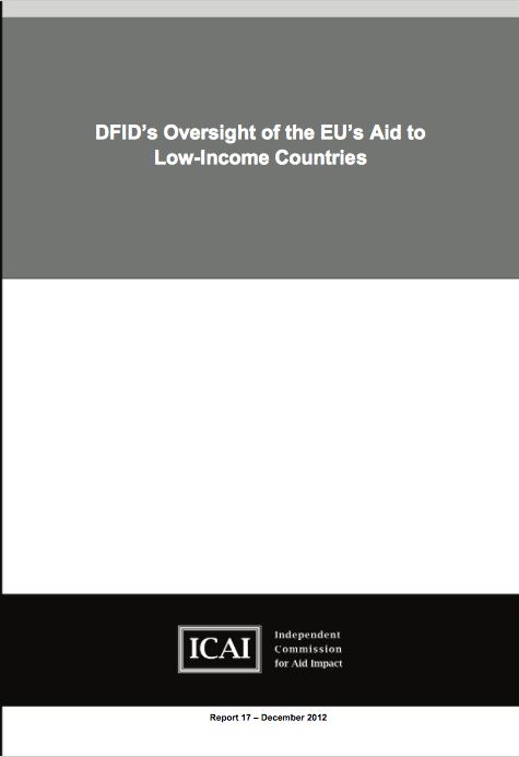 DFIDs Oversight of the EUs Aid to Low-Income Countries report front page