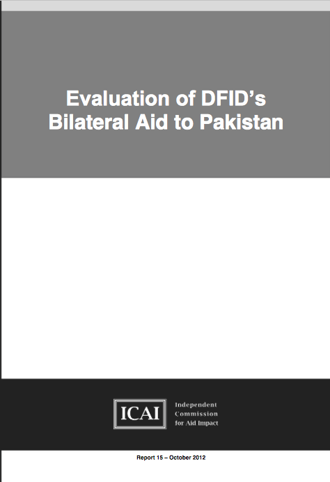 DFIDs Bilateral Aid to Pakistan report front page