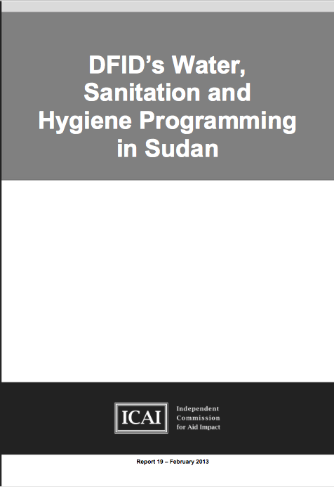DFID's Water, Sanitation and Hygiene Programming in Sudan: Report front page