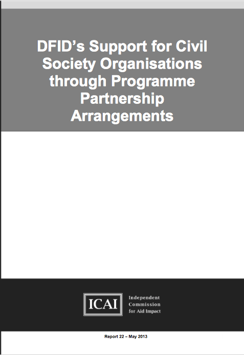 DFIDs Support for Civil Society Organisations through Programme Partnership Arrangements report front page