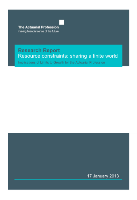 Resource constraints: sharing a finite world report front page