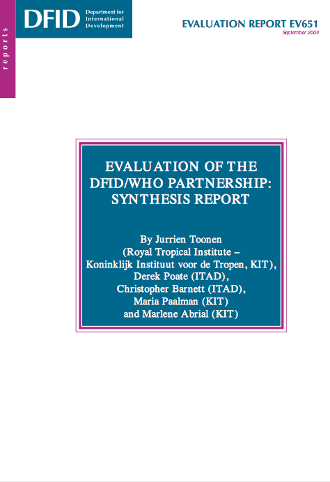 WHO-DFID partnership evaluation front page