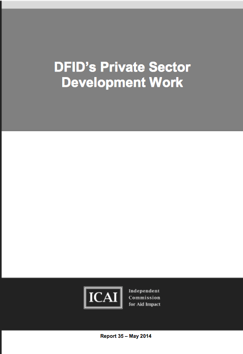 DFID's Private Sector Development work: report front page