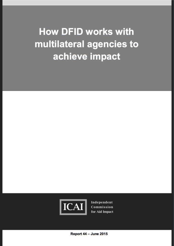 How DFID Works with Multilateral Agencies to Achieve Impact (ICAI) front page