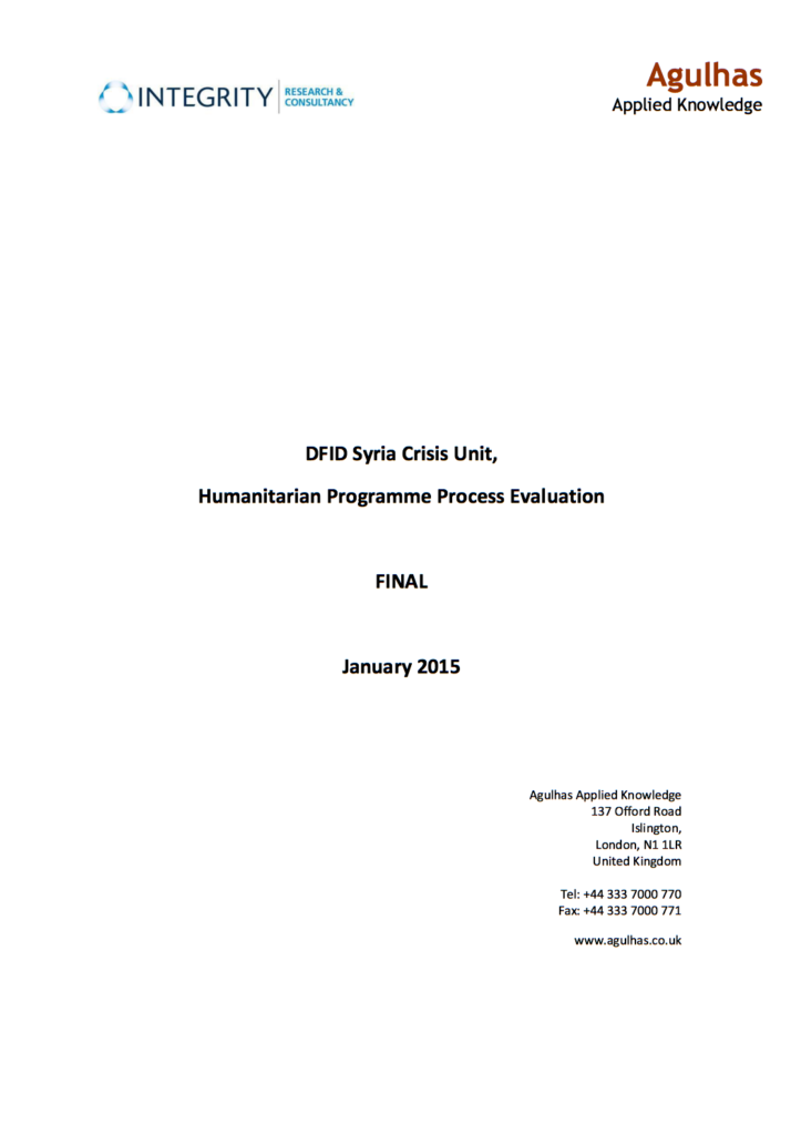 DFID's Humanitarian programming review cover page
