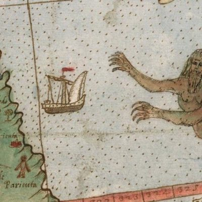 woven image of boat and map
