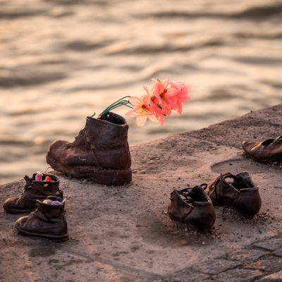 shoes with flowers in them by a river