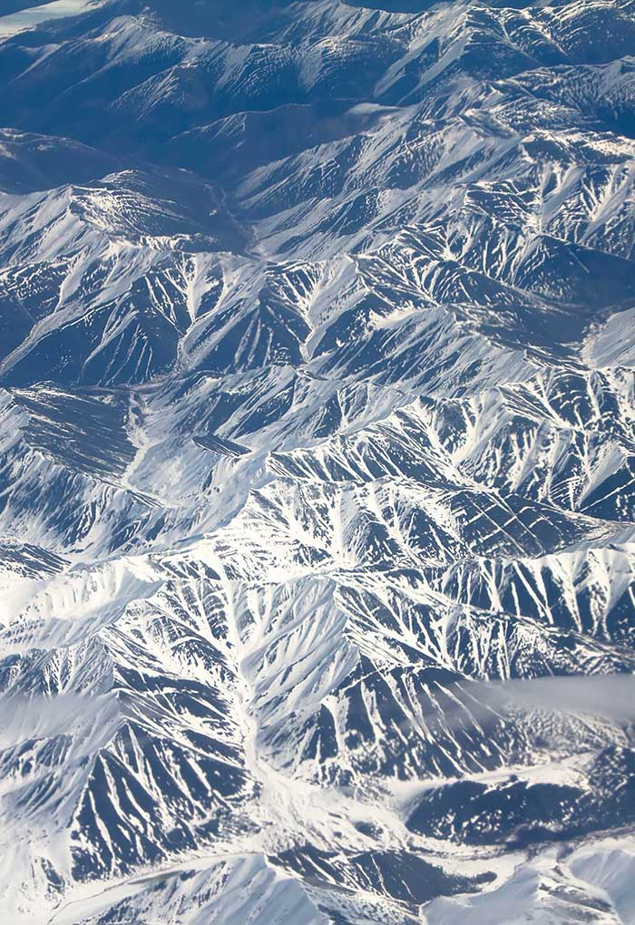 Aerial view of snowy mountains