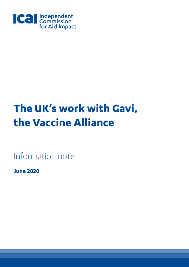 ICAI UK work with Gavi review front page