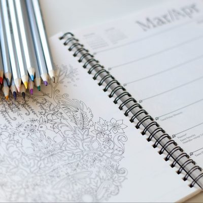 colouring pencils on a diary